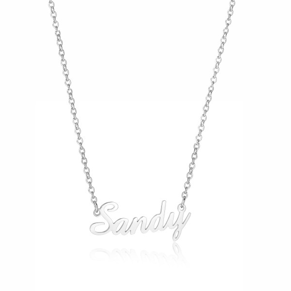 sandy name necklace platinum plated