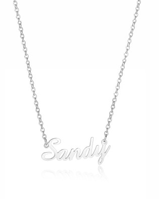 """Sandy"" Style Name Necklace Platinum Plated"