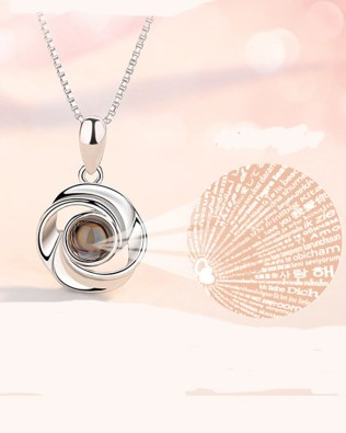 """I Iove you""100 Language Flower Shape Necklace Platinum Plated"