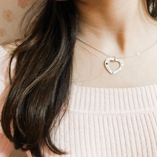 Love shape family name necklace soufeel getnamenecklace