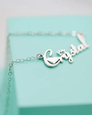 """""""Crystal"""" Style Name Necklace Platinum Plated S925"""