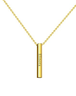 Vertical Bar Name Necklace 18K Gold Plated S925
