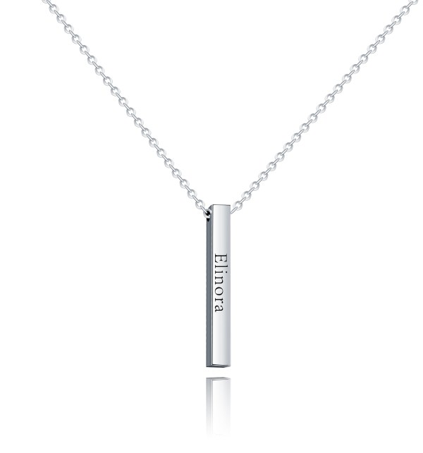 bar name necklace silver with your name custom
