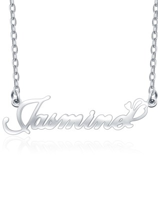 """Jasmine"" Style Name Necklace Platinum Plated S925"