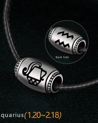 Aquarius Name Engrave Necklace Unisex Black Chain