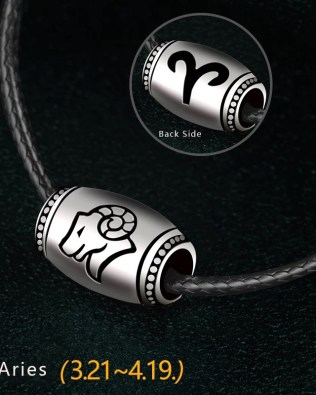 Aries Name Engrave Necklace Unisex Black Chain