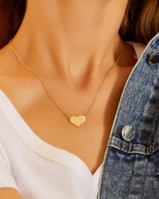 Love baby 3D Engrave footprint and handprint necklace 18k Gold Plated S925