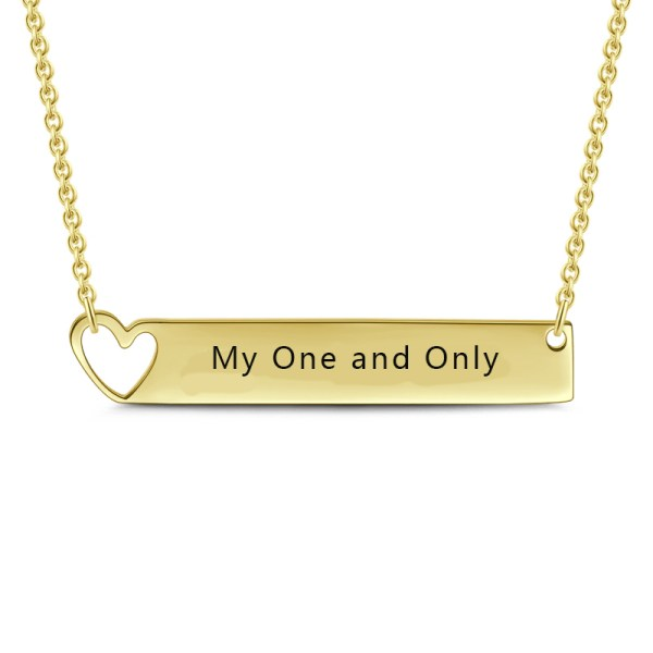 bar name necklace with heart shape 18k gold plated
