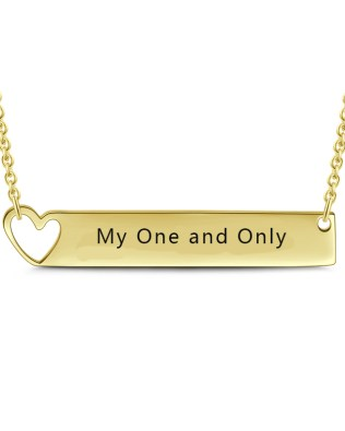 Bar Necklace with Heart 18k Gold Plated