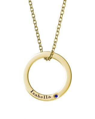 Single Ring Name Necklace 18K Gold Plated Silver S925