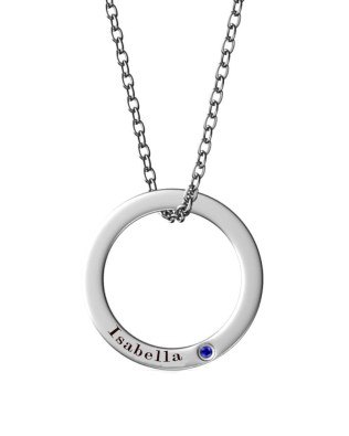 Single Ring Name Necklace Platinum Plated Silver S925