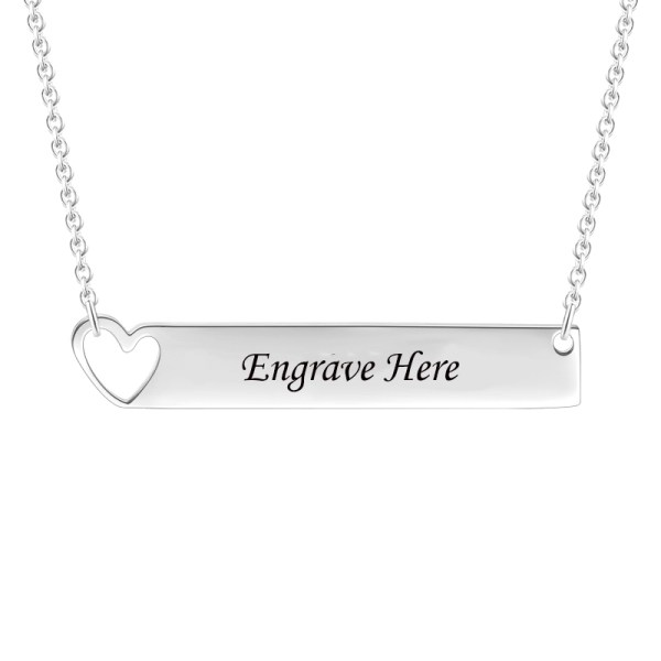 bar name necklace silver platinum plated