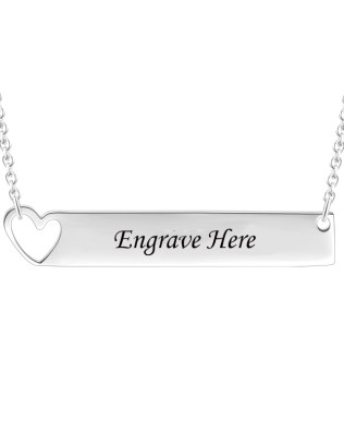 Bar Necklace with Heart Silver Platinum Plated