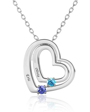 Name Engraving Heart Style Necklace with Birthstone Platinum Plated S925
