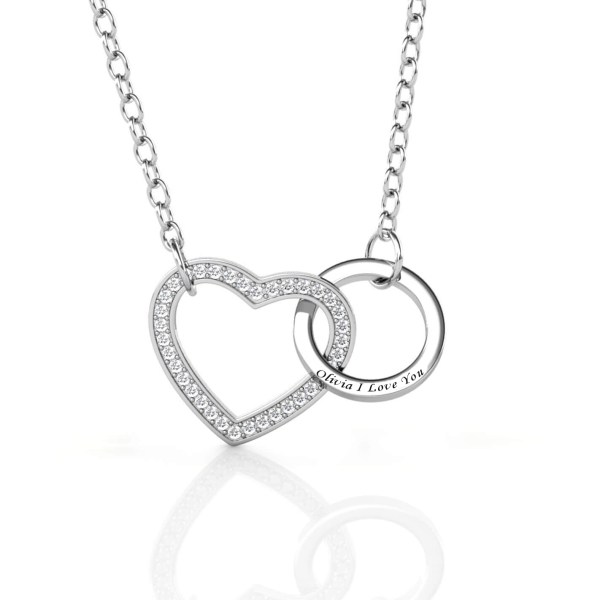 love and ring style necklace with name on it silver platinum plated