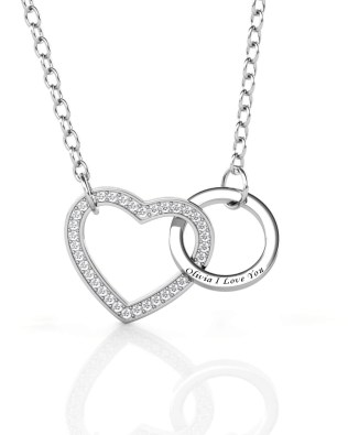 Name Engraving Heart and Ring Style Necklace with Birthstone Platinum Plated S925