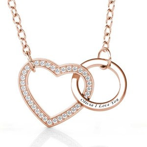 love and ring style necklace with name on it silver rose gold plated