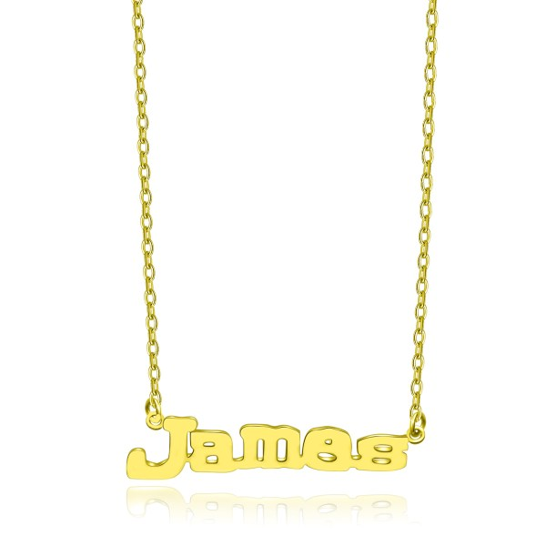 James Style Name Necklace 18k Gold Plated Sterling Silver