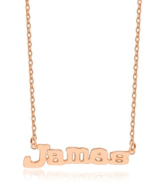 James Style Name Necklace Rose Gold Plated Copper