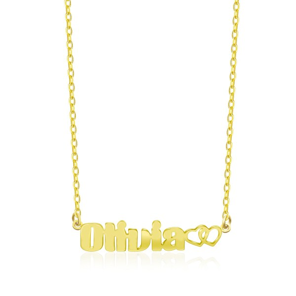 Olivia Style Name Necklace 18k Gold Plated Copper