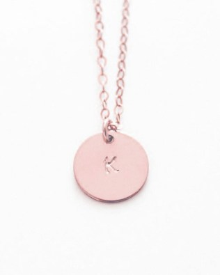 Engravable Coins Necklace Rose Gold Plated S925