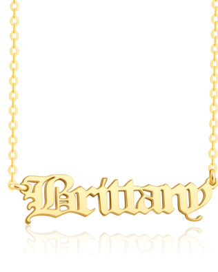 Old English Name Necklace 18K Gold Plated S925