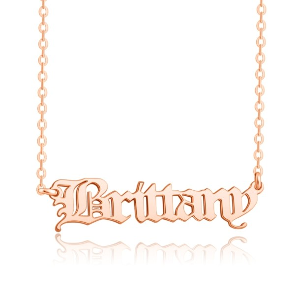 old english style name necklace silver Rose gold plated