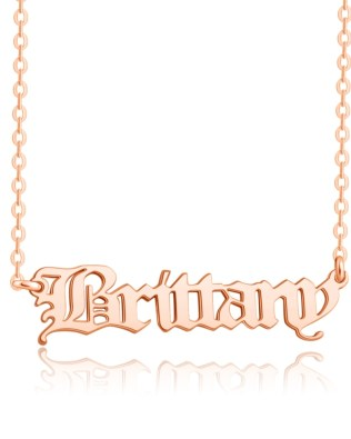 Old English Name Necklace Rose Gold Plated S925