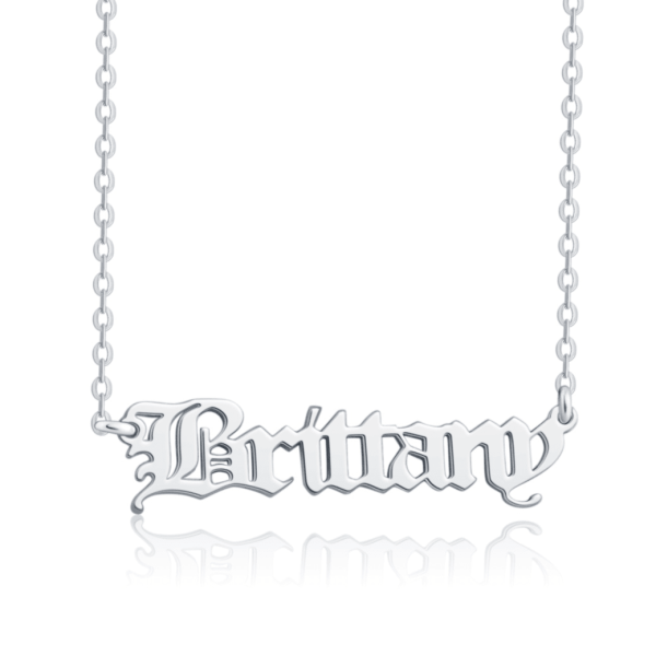 old english style name necklace silver