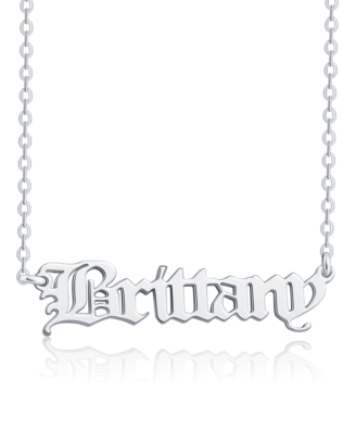Old English Name Necklace Platinum Plated S925