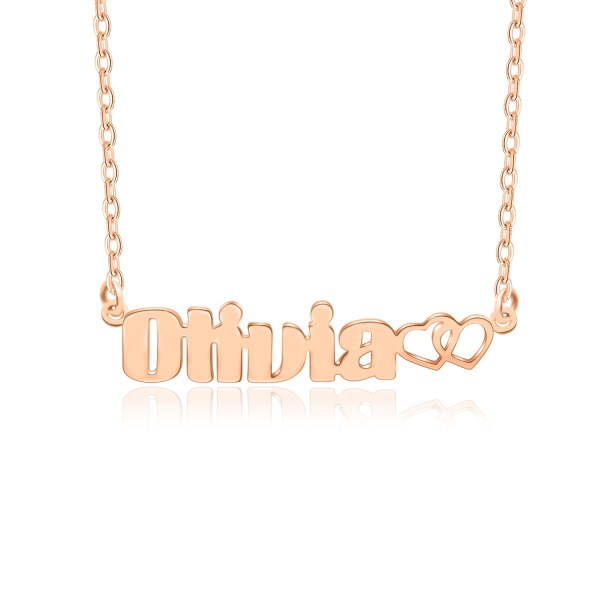 olivia style name necklace rose gold plated silver