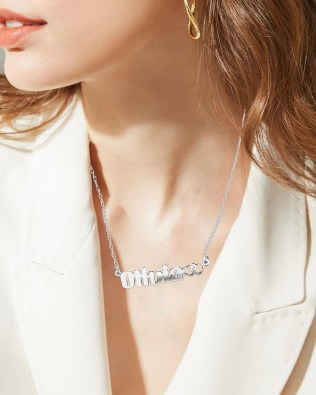 Olivia Style Name Necklace Silver S925