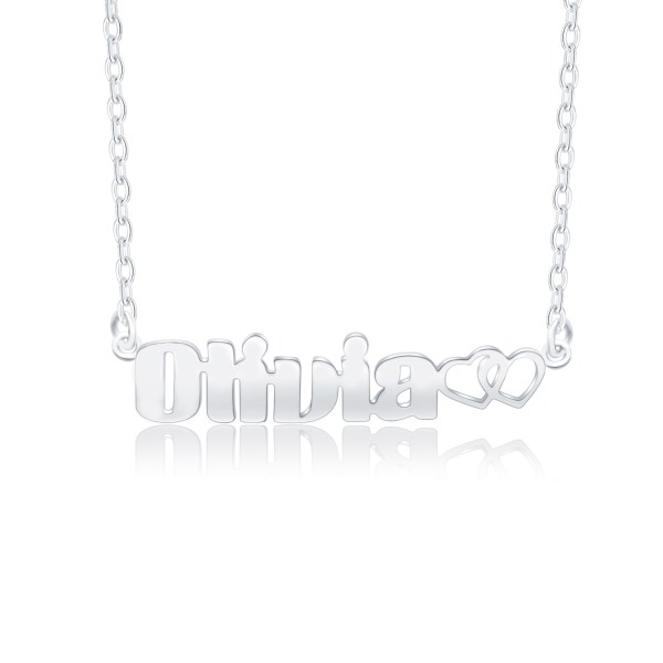 oliva name necklace platinum plated silver