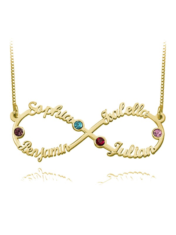 infinity name necklace 4 names with birthstones 18k gold plated silver