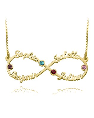 Infinity 4 Name Necklace with Birthstone 18k Gold Plated Silver