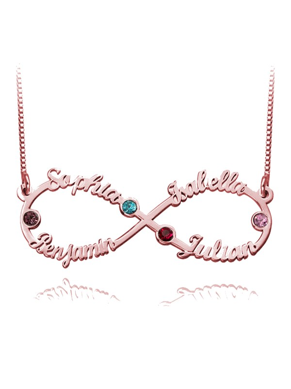 infinity 4 name necklace silver with birthstone