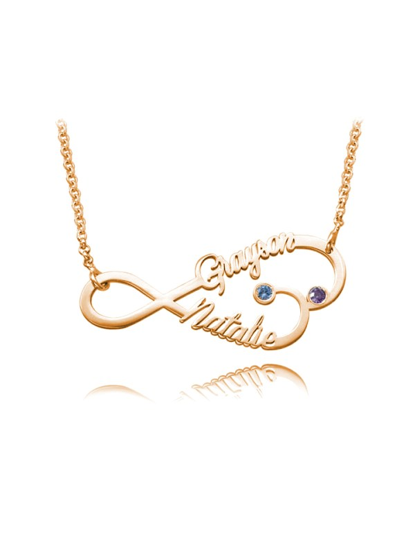 personalized infinity heart name neckalce rose gold
