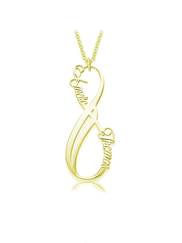 vertical infinity name necklace 18k gold silver