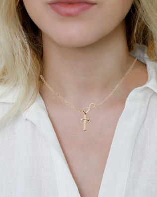 Infinity Cross Name Necklace Rose Gold Plated Silver