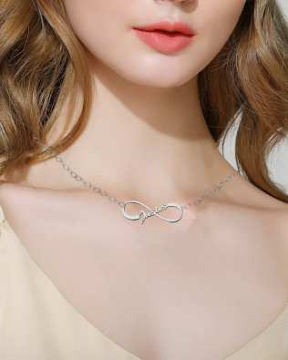 Infinity Single Name Necklace Platinum Plated Silver