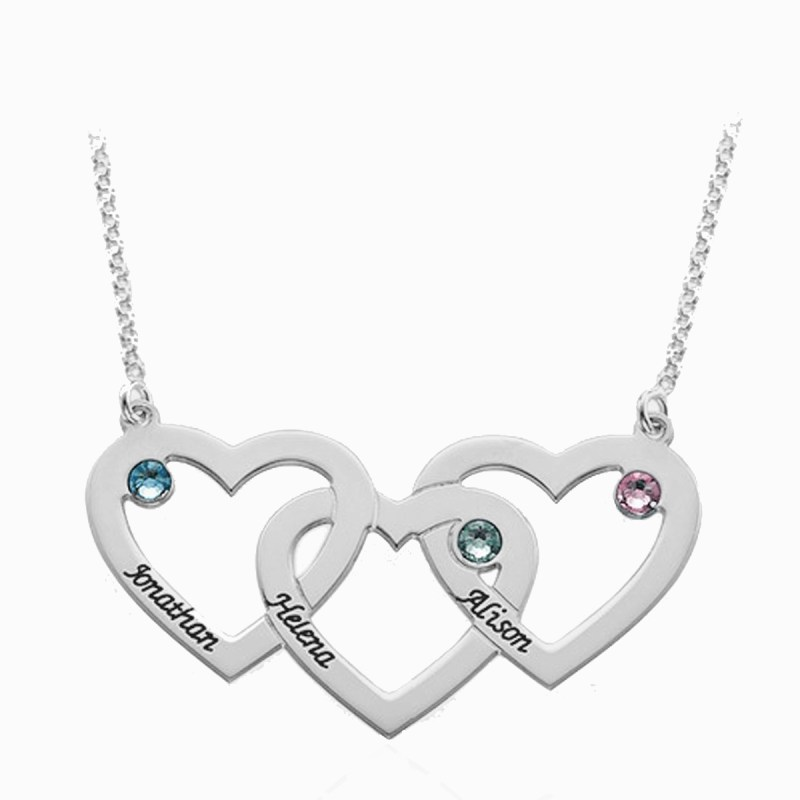 3 heart name necklace silver