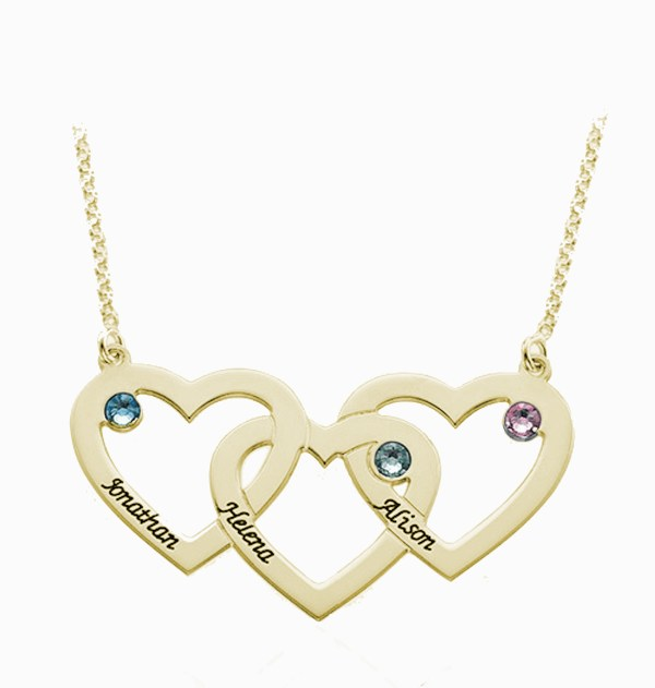 3 heart name necklace 18k gold plated