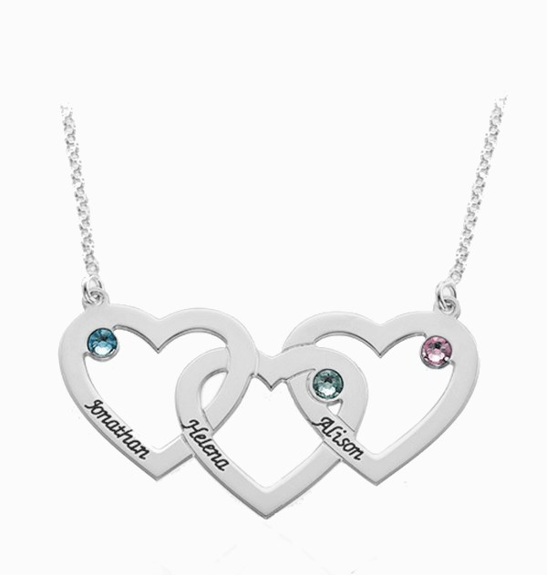 3 heart name necklace platinum plated