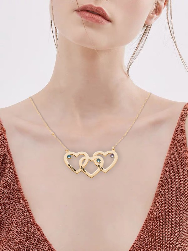 3 heart name necklace rose gold silver