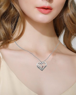 Overlapping Heart Necklace with Birthstone Silver S925