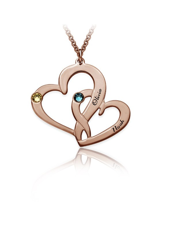 two heart name necklace rose gold