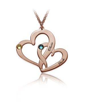 Two Heart Necklace Silver S925 Rose Gold Plated