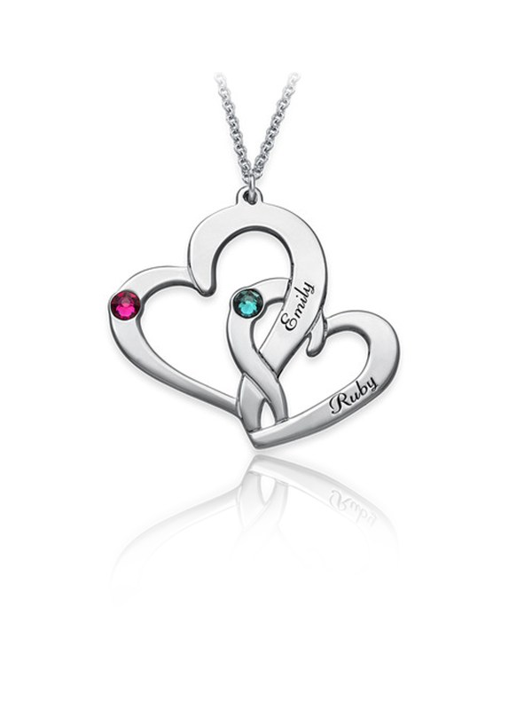 two heart name necklace silver