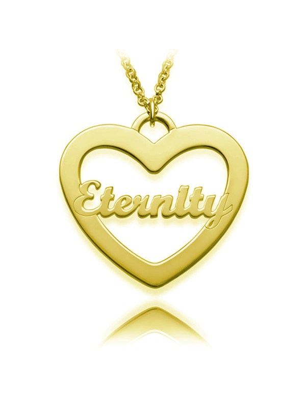 heart name necklace one name personalized 18k gold silver
