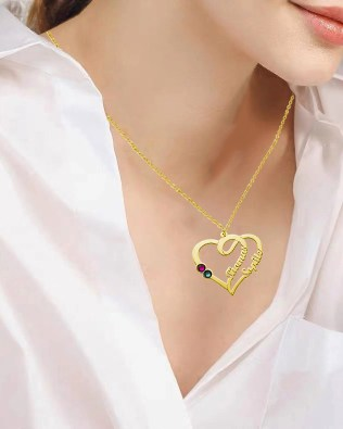 Overlapping Heart Necklace With Birthstone Silver S925 18k Gold Plated